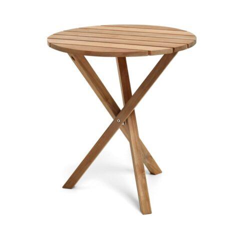 Spring cafébord i teak med diametern 65 cm.