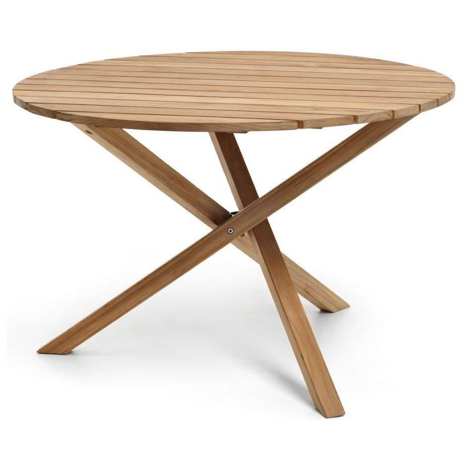 Spring matbord i teak med diametern 110 cm.