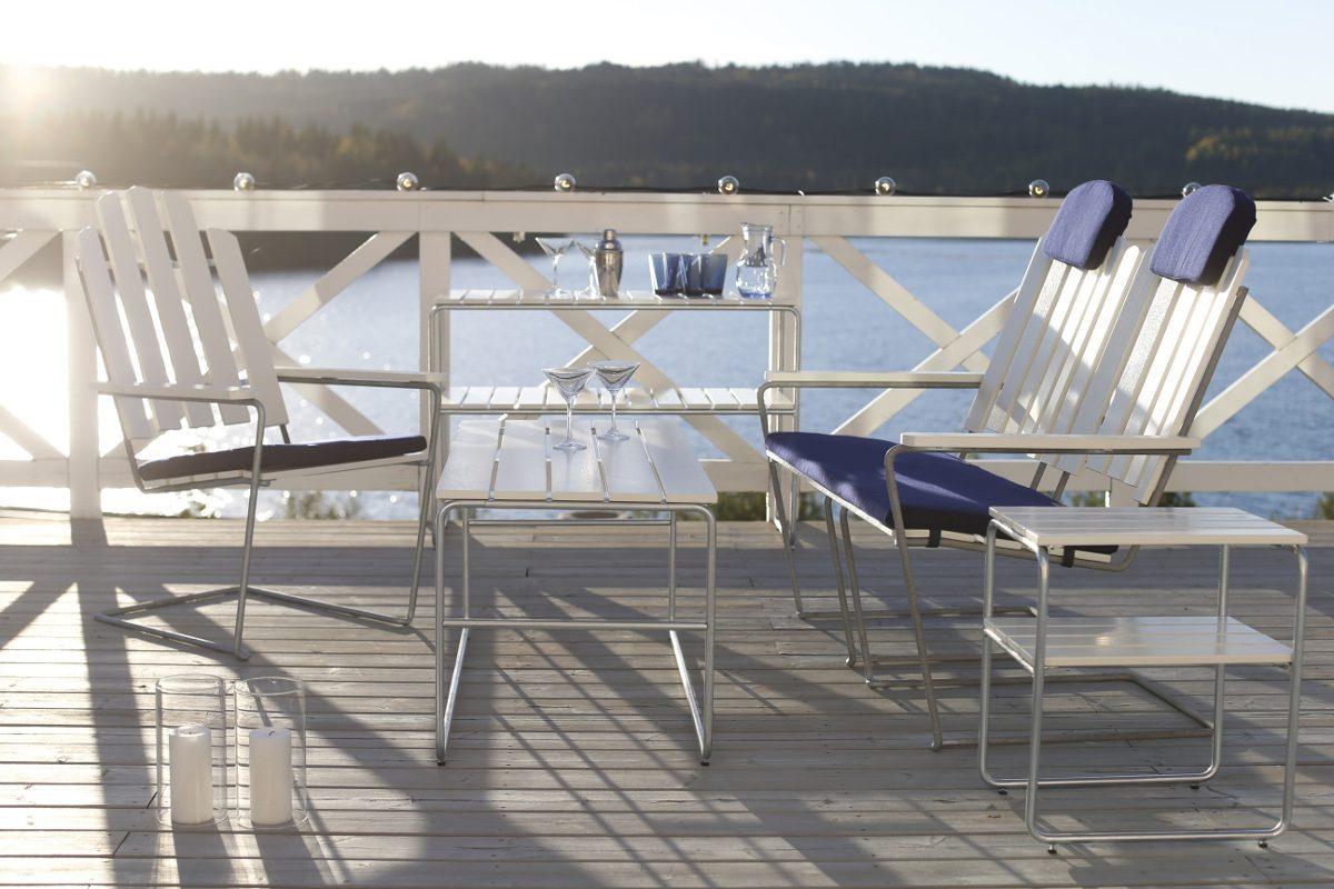 Soffa A3 tillsammans med soltol A3, bord L110 och avlastningbord och sidobord L110 och L45.