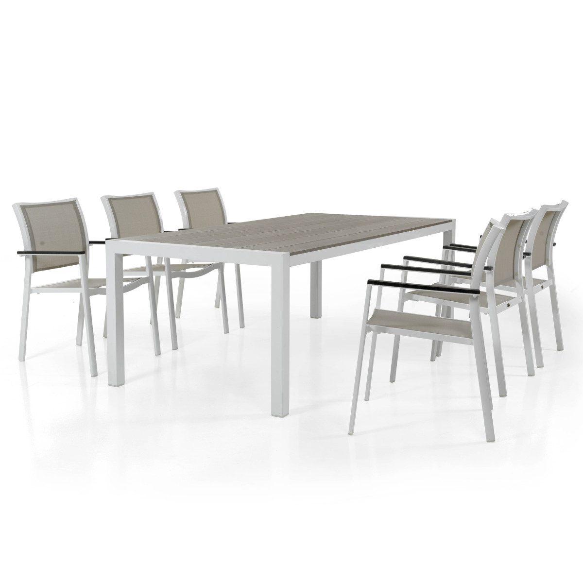 Scilla karmstol i vit aluminium och taupefärgad textileneväv tillsammans med Crescendo matbord i vitt och taupe.