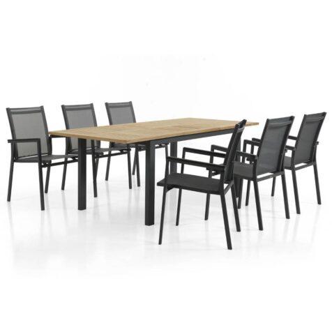 Avanti stapelstol i antracitgrått tillsammans med Lyon förlängningsbord i teak.