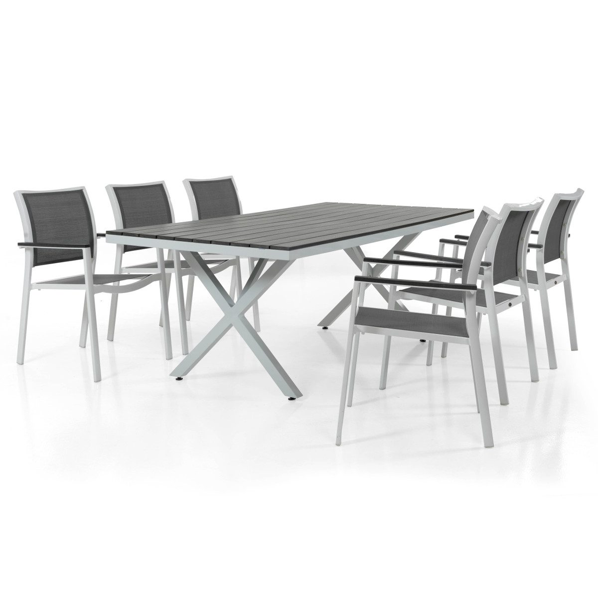 Scilla stapelstol tillsammans med Leone matbord i vitlackad aluminium med grå nonwood skiva.