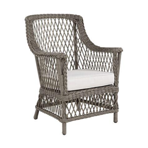 Estelle fåtölj i grå konstrotting med vit sittdyna från Artwood.