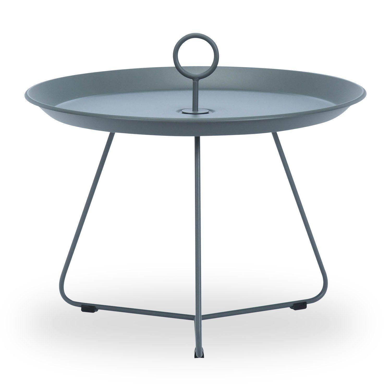 Eyelet sidobord med diametern 69 cm i mörkgrått.