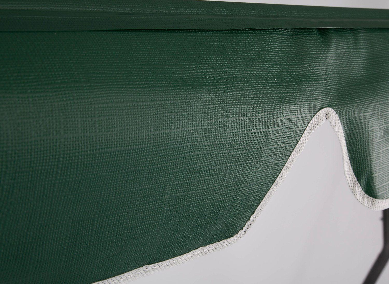 Färgprov på grönt hammocktak i PVC-plast.