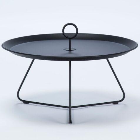 Eyelet sidobord i svartlackerat stål med diametern 80 cm.