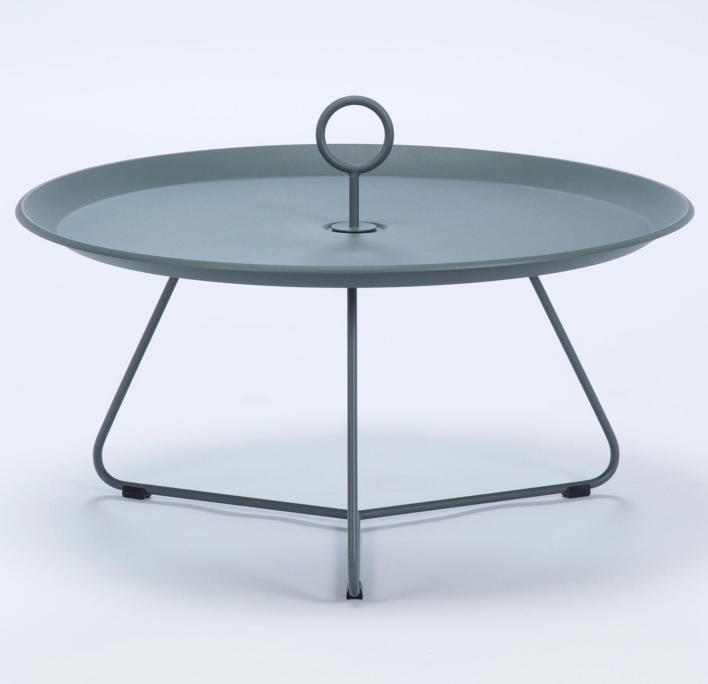 Eyelet sidobord i grålackerat stål med diametern 80 cm.