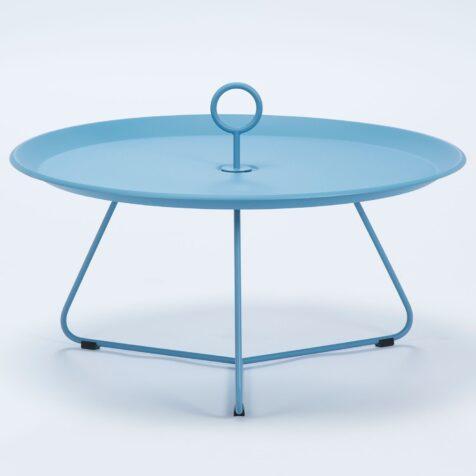 Eyelet sidobord i blålackerat stål med diametern 80 cm.