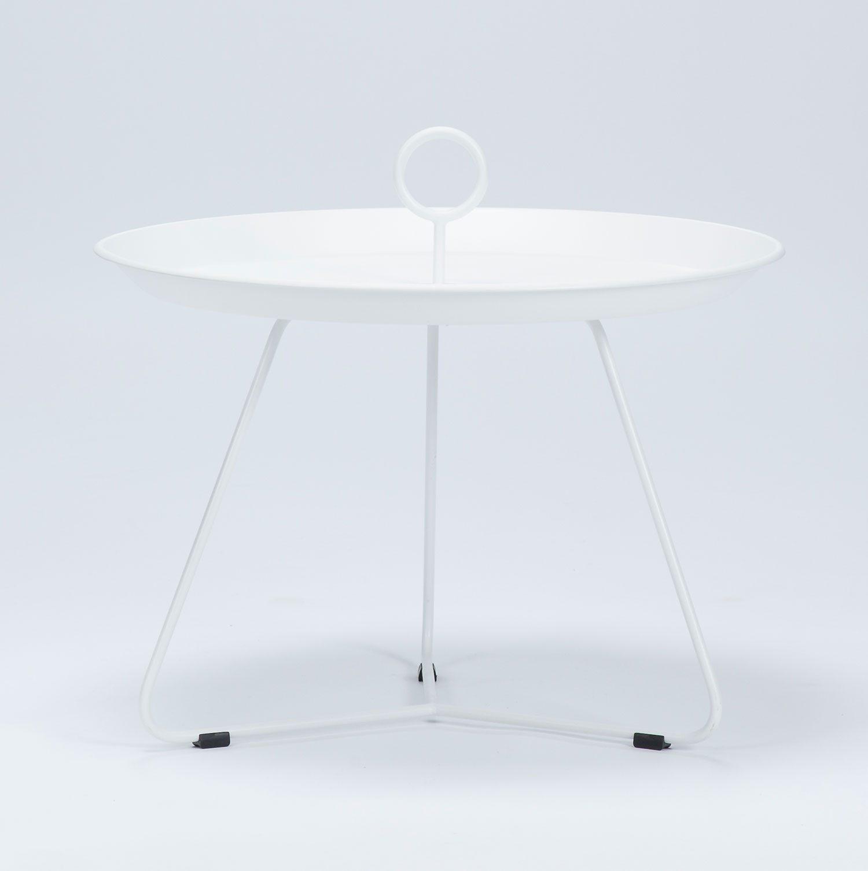 Eyelet sidobord i vitlackerat stål med diametern 60 cm.