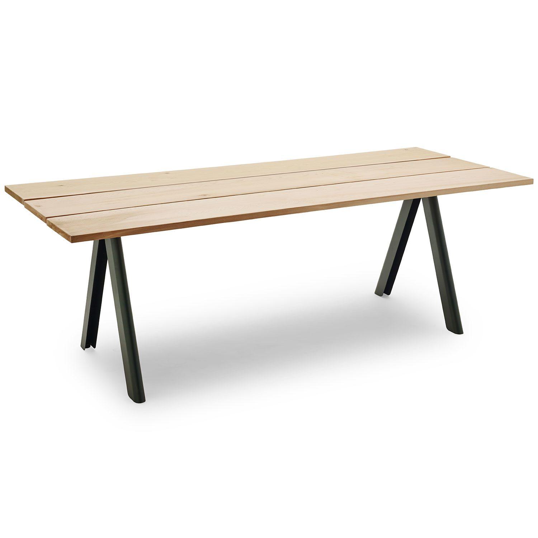 Overlap bord i cederträ och skogsgrönt benstativ från Skagerak.