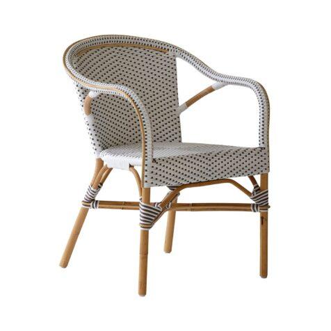 Madeleine caféstol från Sika-Design i vit konstrotting och naturrotting.