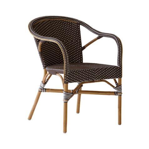 Madeleine caféstol från Sika-Design i brun konstrotting och naturrotting.