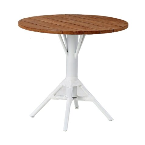 Nicole cafébord i vitt med teakskiva.