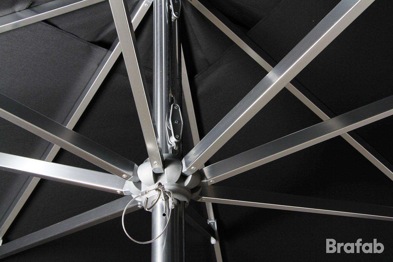 Detaljbild på Arezzo parasoll i svart från Brafab.