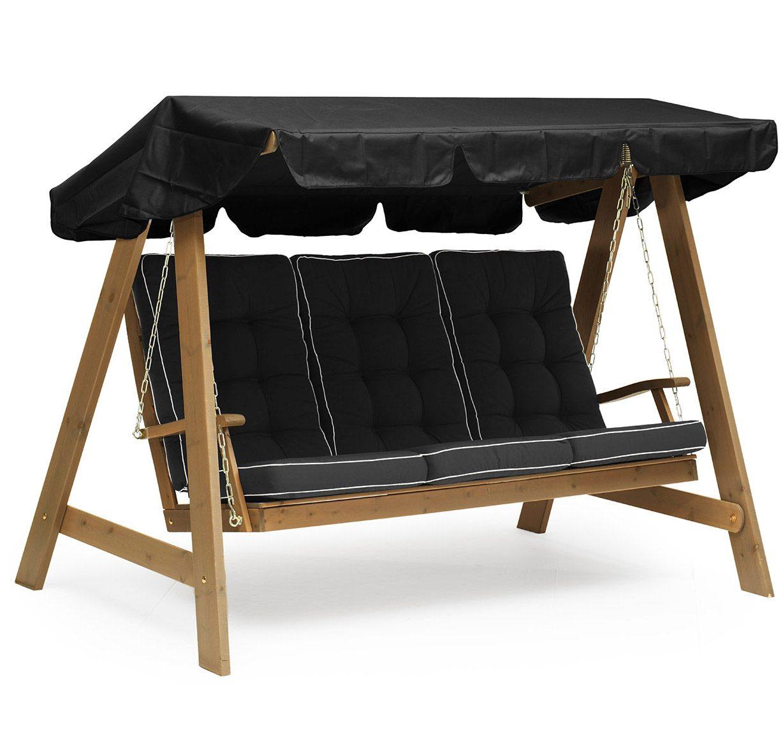 Dalom hammock i kanel med svart tak och svarta dynor från Hillerstorp.