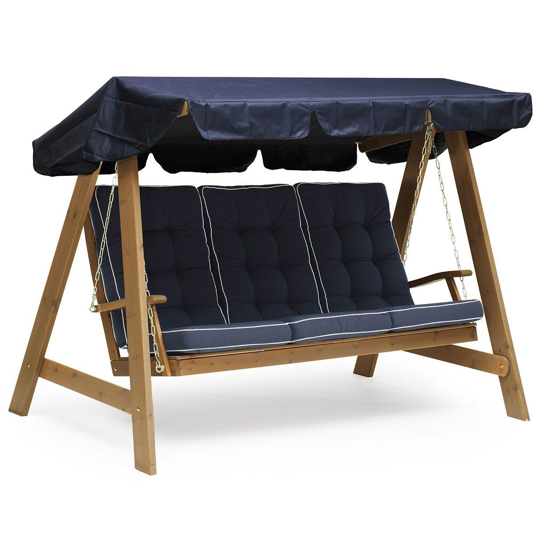 Dalom hammock i kanelfärgad furu med blåa dynor och blått tak från Hillerstorp.