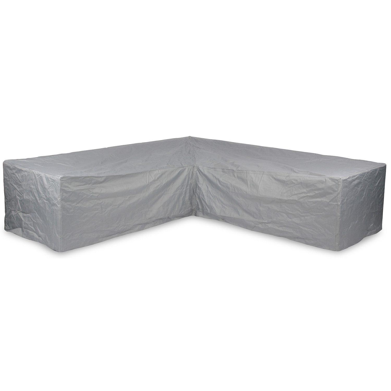 Hörnsoffskydd i grå polyester från Brafab med lika långa sidor.