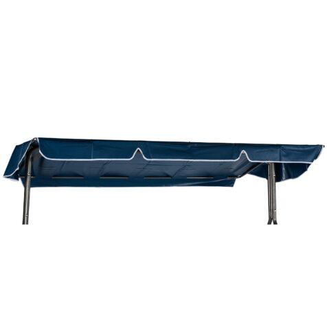 Hammocktak i blå PVC-plast med vit kant och flera olika infästningar.
