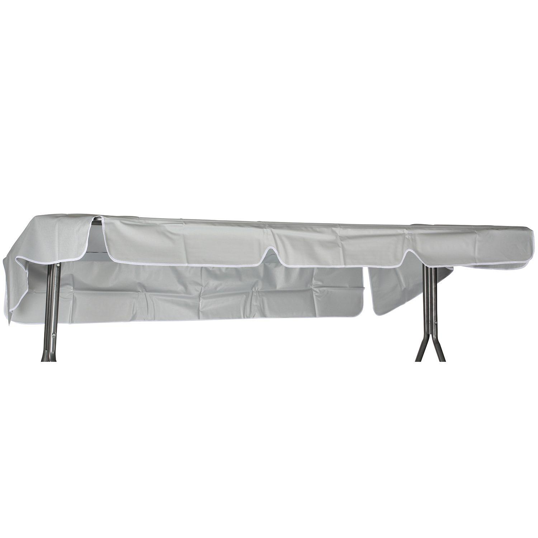 Hammocktak i silverfärgad PVC-plast med vit kant.