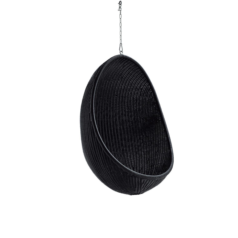 Hanging Egg chair i svart konstrotting utan dyna.