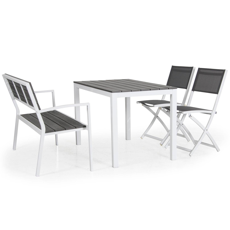 Leone soffa, bord och fällstol från Brafab i vitt och grått.