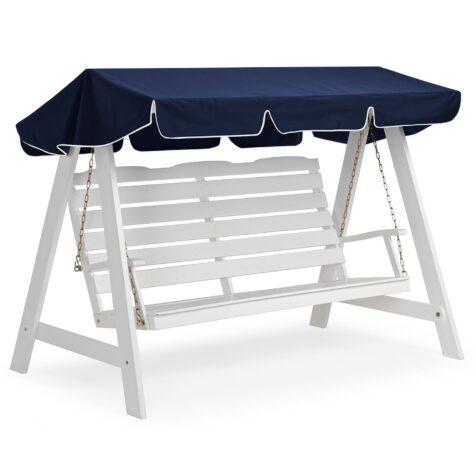Dalom hammock i vitt med tak i blått med vit kant.