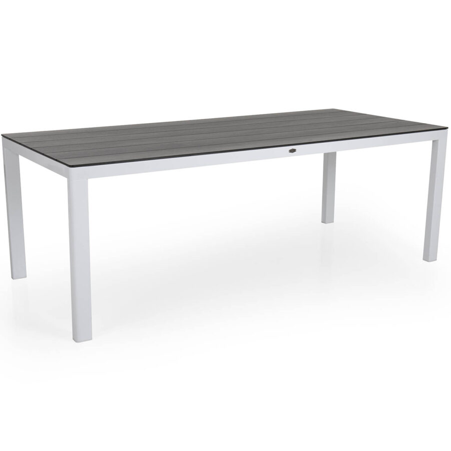 Rodez bord i vitt med grå laminatskiva.