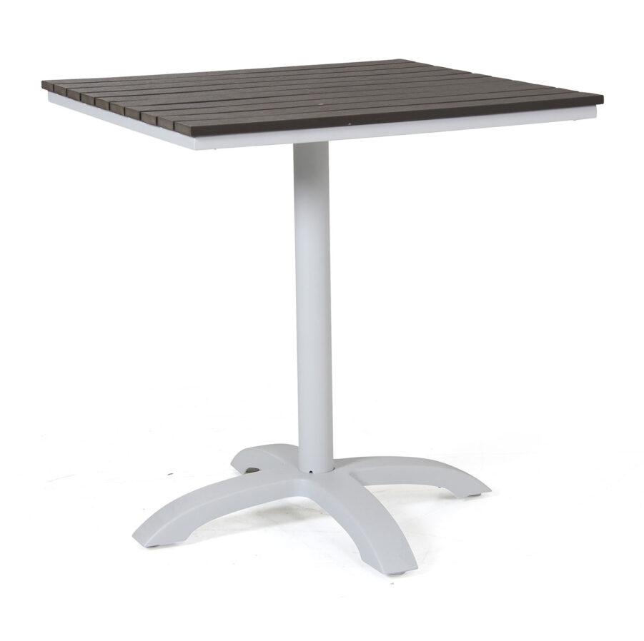 Maine cafébord från Brafab i vit aluminium med grå nonwood skiva.