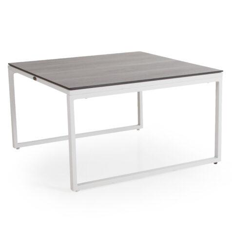 Talance stort soffbord med vitlackat stativ och grå laminatskiva.