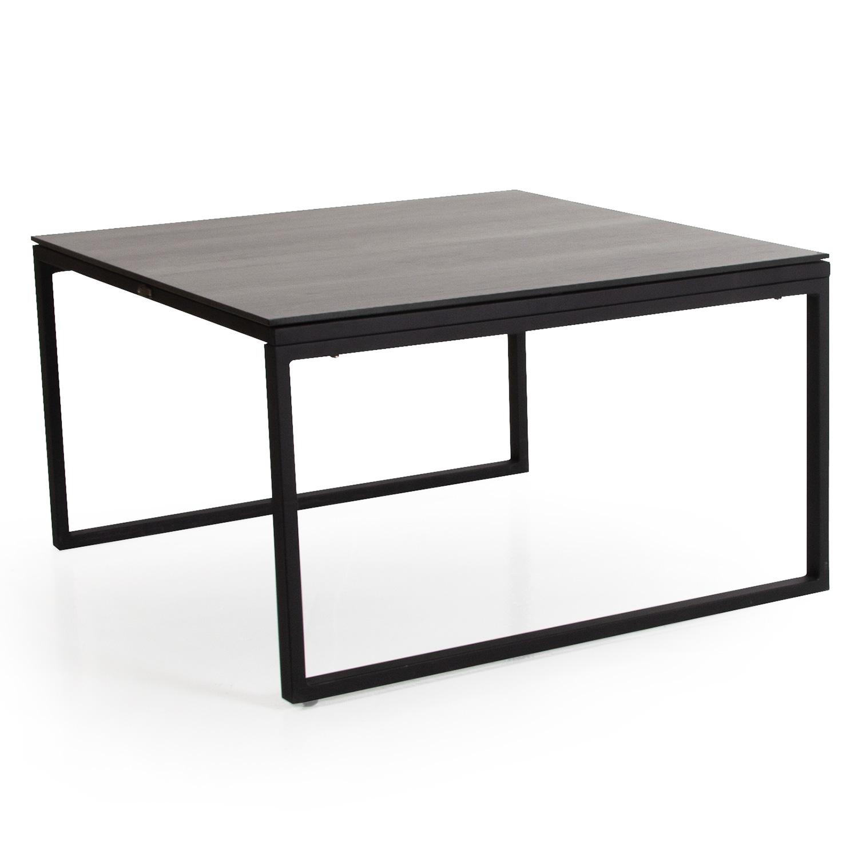 Talance stort soffbord med svartlackat stativ och grå laminatskiva.