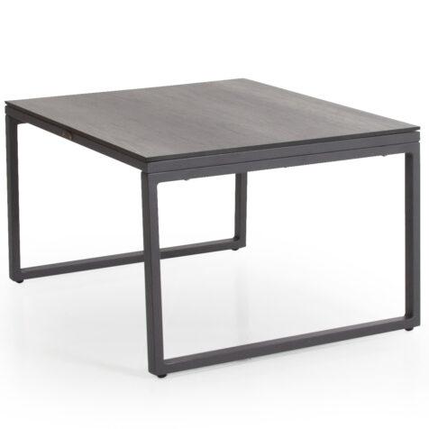 Talance litet soffbord med antracitlackat stativ och grå laminatskiva.