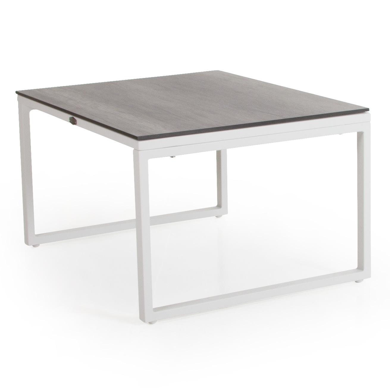 Talance litet soffbord med vitlackat stativ och grå laminatskiva.