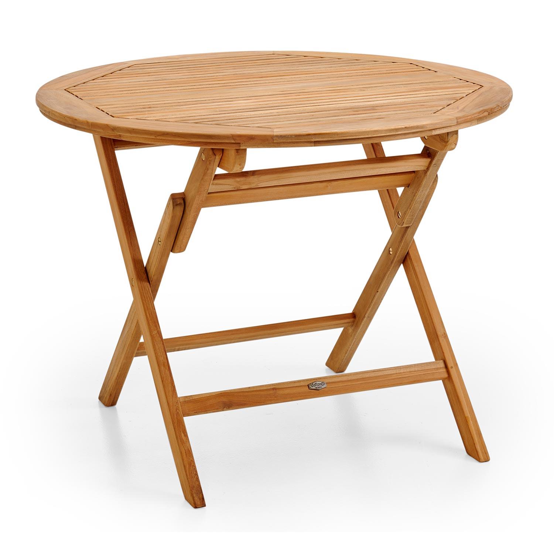 Turin matbord Ø 100 cm i teak med mässingsskruv från Brafab.