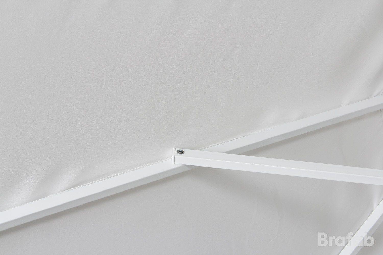 Detaljbild på Andria parasoll i vitt från Brafab.