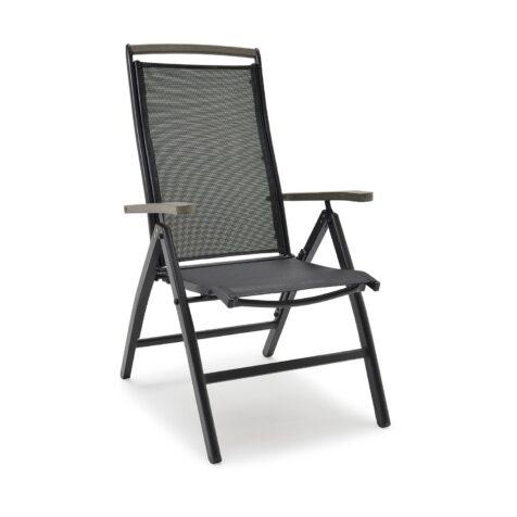 Nydala positionsstol från Hillerstorp tillverkad i aluminium och textilene med armstöd i guamo.