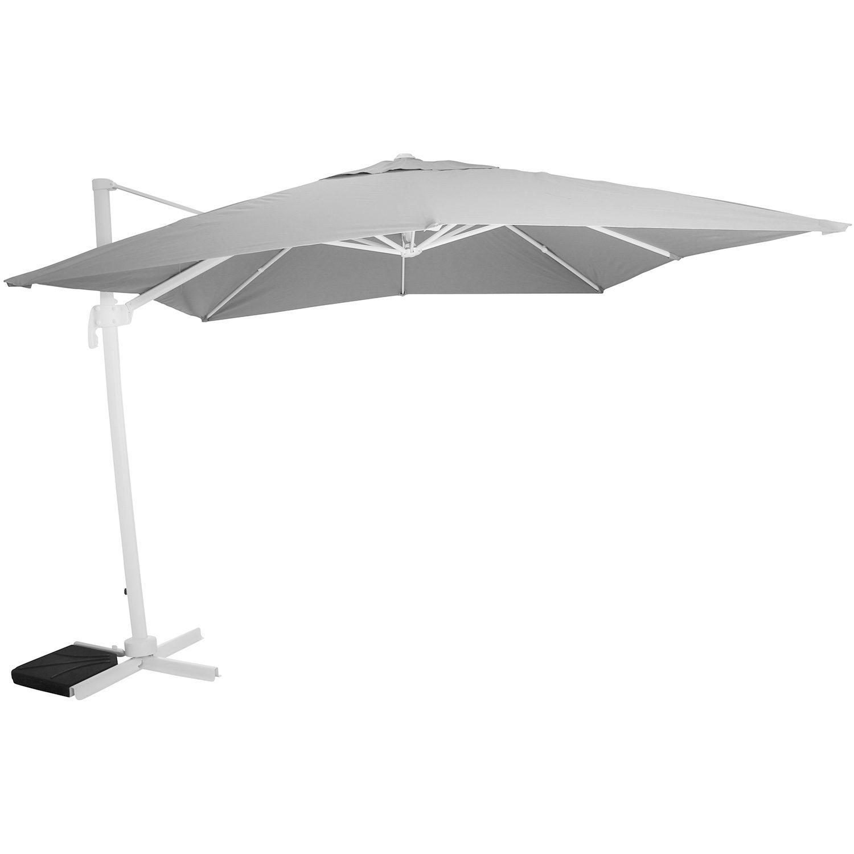 Linz parasoll med vit ställning och grå parasollduk.
