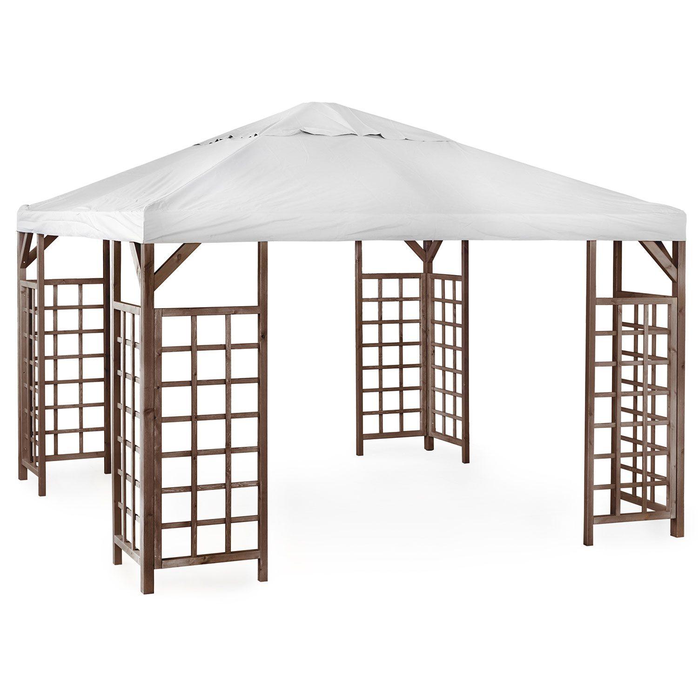 Hov paviljong i brunlaserad furu från Brafab med grått tak.