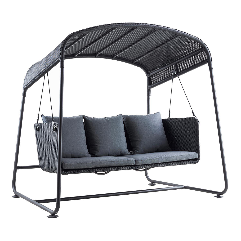 Cave hammock i grå konstrotting men grått Sunbrella tyg.