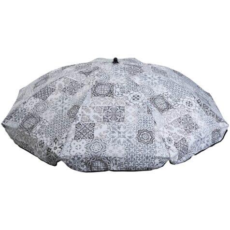 Parasoll 2 meter i diameter grå mönstrat i bomull