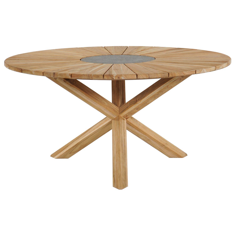 Sunburst matbord i teak med diametern 150 cm.