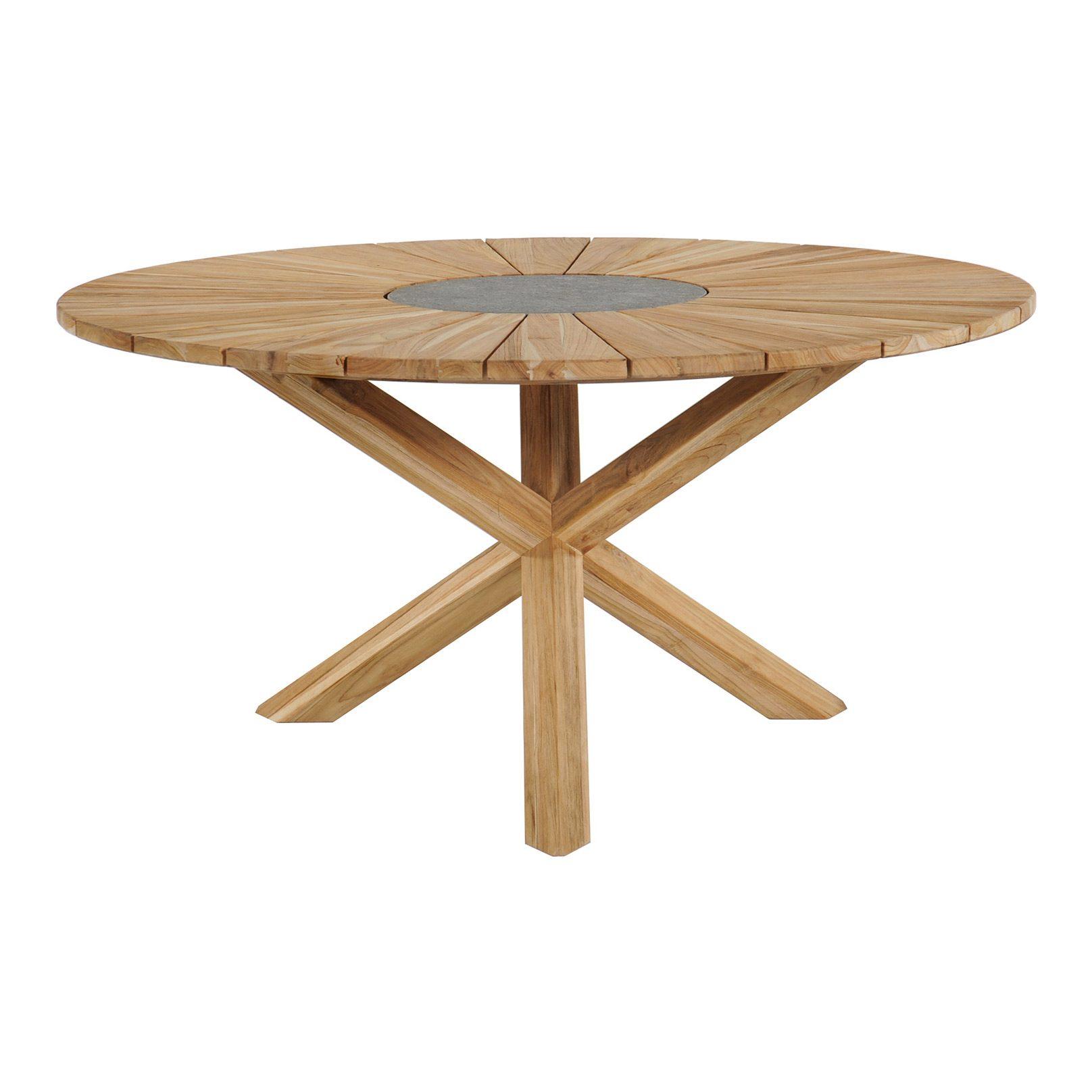 Sunburst matbord i teak med diameter 135 cm.