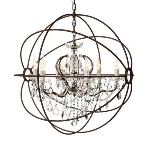Gyro taklampa stor antik rost kristall från Artwood.