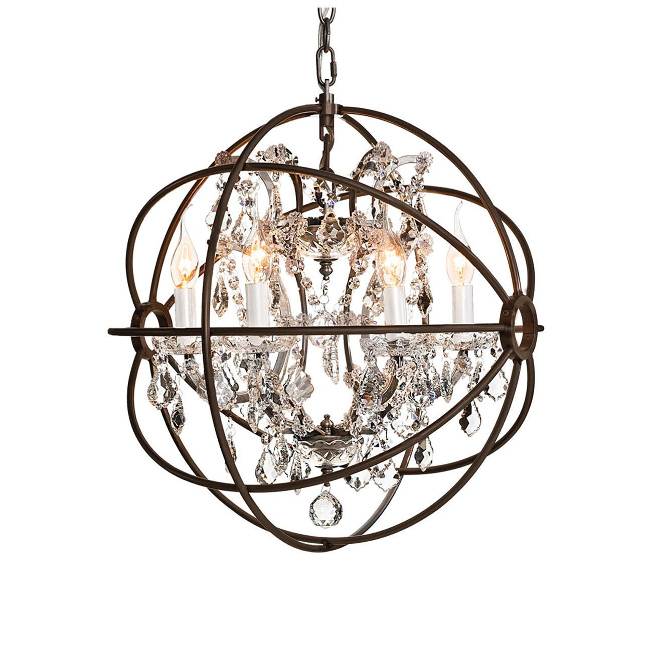 Gyra taklampa liten antik rost kristall från Artwood.