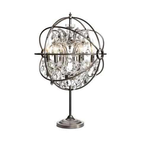 Gyro bordslampa silver metall med kristall prismor ifråpn Artwood.