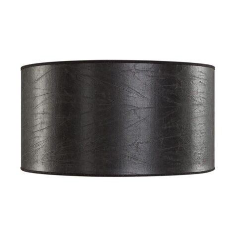 Cylinder lampskärm 40 cm i svart skinn.