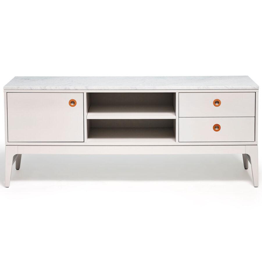 Höllviken TV-bänk ljusgrå med marmorskiva.