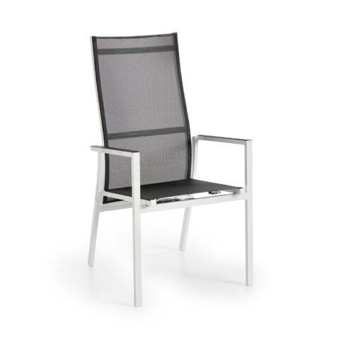 Avanti positionsstol i vit stomme och grå textilene.
