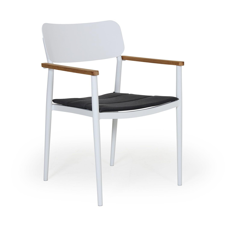 Domingo karmstol tillverkad i aluminium och teak från Brafab.
