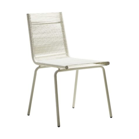Sidd stol med stålram och Cane-line rope i vitt från Cane-line.