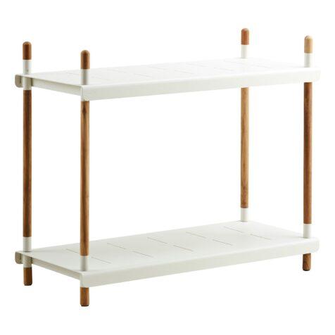 Frame hyll hög i vit aluminium och tek från Cane-line